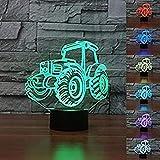 SJSF L 3D Auto Traktor Nachtlicht Lampe 7 Farbwechsel LED Touch USB Tisch Geschenk Kinder Spielzeug Dekoration Weihnachten, B