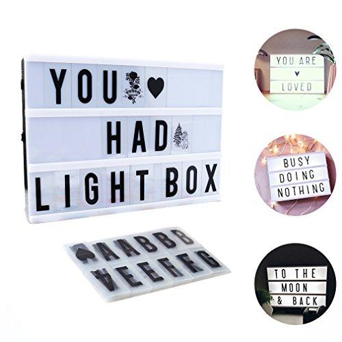 Cinéma Boîte A4, CrazyFire LED Cinema Lumineuse avec 104 Lettres, 85 Symboles Coloré Légère Boite, Enseigne Lumineuse pour Décorer Anniversaire/Famille/Boutique