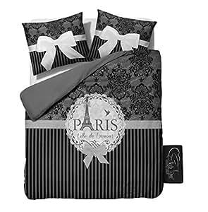 sleeptime housse de couette i love paris grey 200x200 220 gris avec 2 housse d 39 oreiller. Black Bedroom Furniture Sets. Home Design Ideas