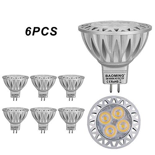 Baoming Lot de 6 ampoules MR16LED GU5.3Base 230V équivalent à ampoules halogènes 50W Blanc froid 6000K Angle de faisceau 38° Haute luminosité 350Lumens Économie d'énergie