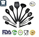 Silicone Kitchen Utensil 10 Piece Set (by StarCooks), Heat-Resistant, Non-Stick, Easy to Clean, Silicone Cooking Utensils: Large Spatula, Small Spatula, Slotted Spoon, Spoon, Pasta Fork, Tongs, Turner, Whisk, Ladle, Basting Brush