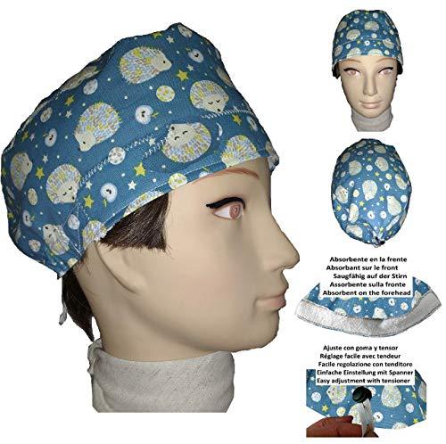 OP Haube Igel für kurze Haare, Frau und Mann, Chirurg, Zahnarzt, Tierarzt, Koch, etc. Handtuch auf der Stirn, verstellbarer Spanner auf der Rückseite. Handmade -