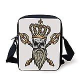 King,Ruler Skull Head with Gray Beard Crossed Royal Scepter Cartoon Seemed Image,Golden and Light Grey Print Kids Crossbody Messenger Bag Purse