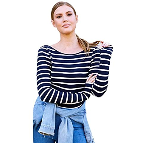 Yukong Women's Striped Long Sleeve Blouse Backless Casual Tops Tee Shirt (M, Navy)