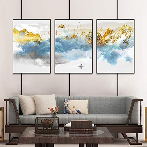 zxddzl Hotel Schlafzimmer Neue Chinesische triptychon gemälde malerei modernen minimalistischen esszimmer Wohnzimmer Dekoration malerei 40 * 60 cm
