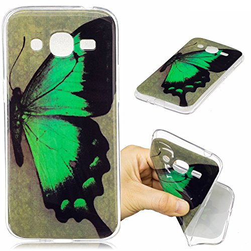 Samsung Galaxy J2 2016 Hülle Case, Cozy Hut® [Fun-Serie] Ultra Dünn [Crystal Case] Transparent Soft-Flex Handyhülle / Bumper-Style Premium-TPU Silikon / Perfekte Passform / Kratzfest Schutzhülle für Samsung Galaxy J2 2016 Case, Samsung Galaxy J2 2016 Cover, Galaxy J2 2016 Case, Galaxy J2 2016 Cover, J2 2016 Case, J2 2016 Cover - Green Butterfly