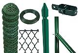 Komplettes Set für einen 25m langen Gartenzaun, kunststoffbeschichteter Metall-Draht, Höhe 100cm, Maschen 50x50mm, mit Pfosten zur Befestigung in Beton, 1Set