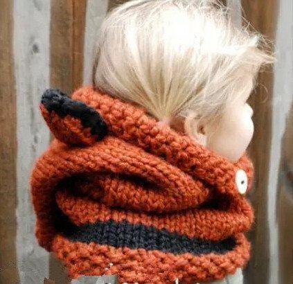Winter Wolle Gestrickte Hüte Schals Kapuze Mönchskutte Beanie Mützen für Kinder Junge Baby Mädchen Schalmütze Mütze Wolleschal warme Earflap Fox cap Pattern 02