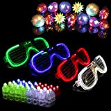 Syolee 34pcs LED Light Up Toys Glow Party Favour Supplies Party Bag Fillers - 20 LED Finger Lights 10 LED Flashing Bumpy Rings and 4 Flashing Slotted Shades Glasses
