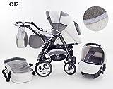 Kinderwagen Babywagen Kombikinderwagen Baby Merc Junior Twist 3 in 1 Komplettset mit Zubehör 0-3 Jahre 0-15 kg Insektenschutz Netz Regenschutz Getränkehalter Buggy Autositz (Braun)