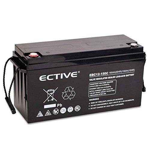 ECTIVE Bleiakku 12V 165Ah Zyklenfeste AGM Batterie Blei Akku EBC-Serie 13 Varianten: 25Ah - 280Ah (wartungsfrei)