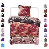 135x200 cm Bettwäsche mit 1 Kissenbezug 80x80 Mikrofaser Weich Warm Winter Kuschelig Bettbezug Bettwäschegarnitur mit Blumenmuster schwarz rot grau orange Furry
