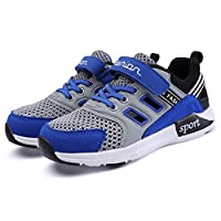 Aizeroth-UK Kids Casual Sports Shoes Air Out Trainers Fitness Flats Velcro Mesh Breathable Lightweight Athletic Walking Gymnastics Running Sneakers for Girls Boys ... (3 UK, Gray Blue)