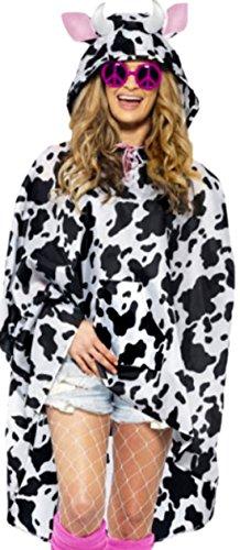 Confettery - Unisex Damen Herren Kuh Kostüm Regenponcho, One Size, schwarz-weiß