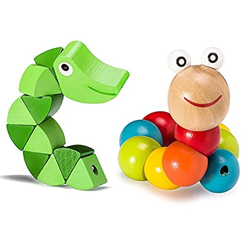 VALUE MAKERS 2Pcs Colorful Insects Puzzles Kids-Educational Wooden Toys Baby Children Fingers Flexible Training Science Twisting Worm Toys