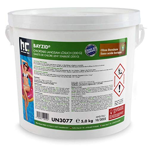 1 x 5 kg Chlor Tabs langsam löslich 200g - Chlor Für Tabs Spa