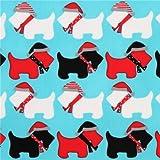 Eis blauer Weihnachtsstoff mit Hunden Terrier Jingle 3 Aqua