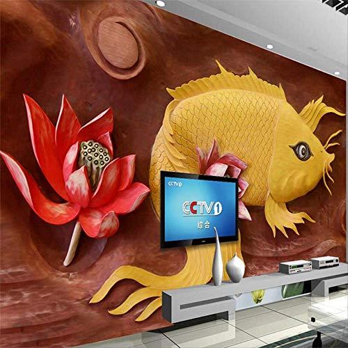 3d Koi Relief Wand Holzschnitzerei Hintergrund Wand Jährliche Fischfresko Tapete Wohnzimmer Schlafzimmer Hintergrund
