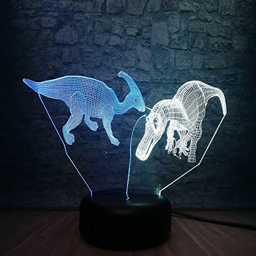 Novedad Animal Dinosaurio 3D Lámpara de Colores Mezclados Dormitorio Sueño Noche Luz Rgb Iluminación Ilusión Decorativa Casera Niños Regalo Juguetes Bebé Niños Lámpara de escritorio