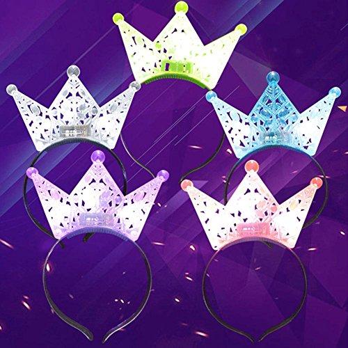 CHENGYUAN 1 STÜCK Licht Kappe Prince Crown Princess Crown Leuchtenden Bogen Knoten Hoop Kopf Dekoration (Gelegentliche Farbe) -