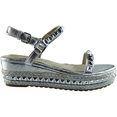 Da donna Le signore Cinturino alla caviglia Piattaforma Scarpe Cuneo sandali Dimensione 36-41 Argento