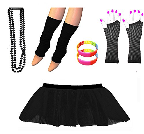 Black Tutu Skirt Set with Leg Warmers, Fishnet Gloves, Necklace Beads and Neon Wrist Beads - Sizes 8 to 22