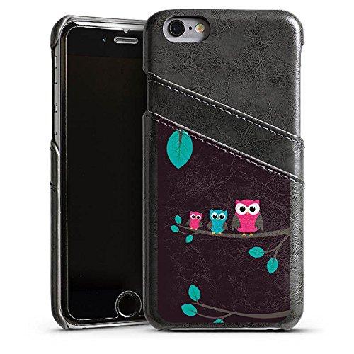 Apple iPhone 4 Housse Étui Silicone Coque Protection Hibous Mignon Forêt Étui en cuir gris