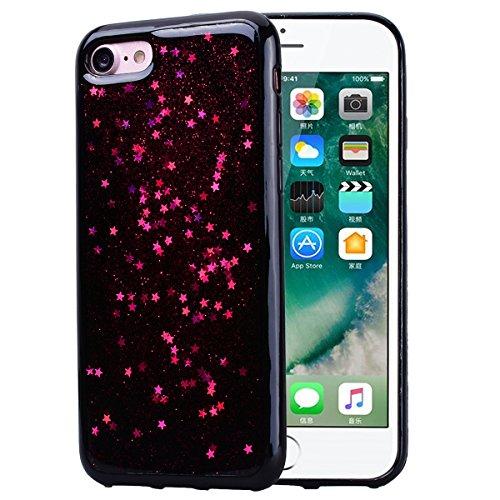 Cover per iPhone 7 Plus / iPhone 8 Plus, VemMore Custodia in Morbido Nero Silicone TPU Case con Stella Scintillante Glitter Pattern Designo Backcase Caso di Ultra Sottile Bling Brillante Paraurti Luss Rosso