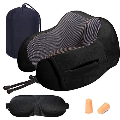 Cuscino da viaggio memory foam, luzway cuscino cervicale da viaggio aereo, auto uso domestico con maschera per gli occhi, tappi e borsa per il trasporto[nero]