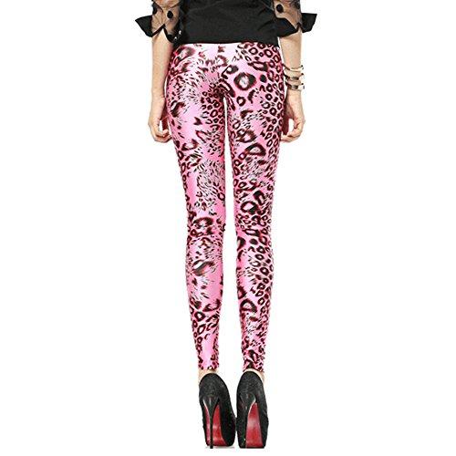 Leapparel Raffreddare Galaxy 3D Grafica Stampata Casual a Vita alta Leggings per Sport Usura Quotidiana Abbigliamento di Strada Pantaloni per Donne Pink Leopard