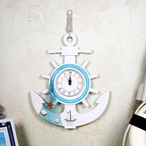FAN4ZAME Mediterrane Dekorative Uhren Holz- Ruder Wanduhr Wand Dekoration
