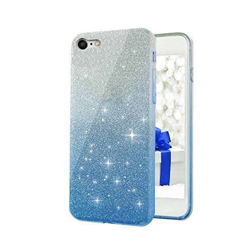 Trifty Cute Luxury Glitter Sparkle Bling Soft Silicone Back Case Cover For Oppo Neo7 (Blue)