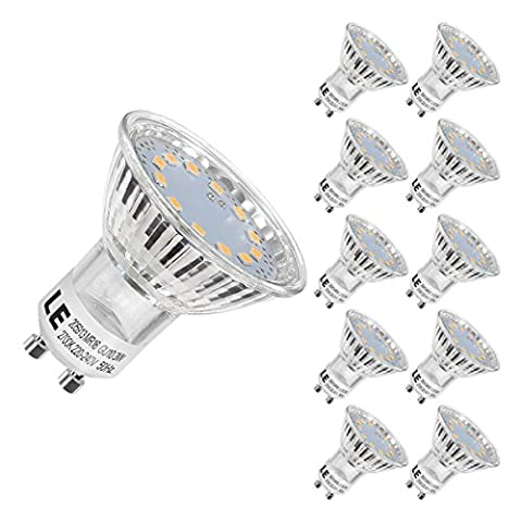 LE 10 Pack GU10 LED Light Bulbs, 35W Halogen MR16 Bulbs Equivalent, 250lm, 3W, Warm White, 2700K, 120° Beam Angle, Recessed Track Lighting
