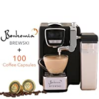Bonhomia Brewski BB02IG100 Single Serve Coffee Brewer with 100 Coffee Capsules (Black)
