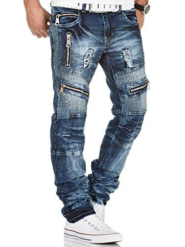 Kosmo Lupo Herren Jeans Hose Denim Japan Style Vintage Clubwear Chino Used Blau