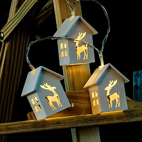 Tekhome Rentier Lichterkette Batterie Aussen, Weihnachtsbeleuchtung Innen Außen, LED Lichterketten Für Zimmer, Weihnachten Deko Holz Fenster, 10er LED, 1.5M, Warmweiß.
