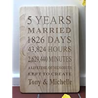 Engraved Wooden 5 Years Plaque Personalised 5th Fifth Anniversary Gift