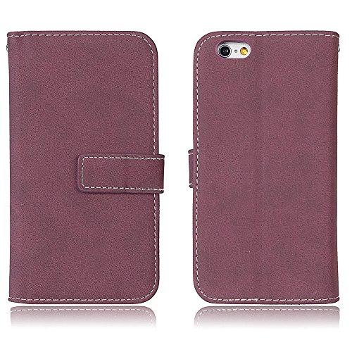 EKINHUI Case Cover Frosted Style Premium PU Leder Geldbörse Hülle Flip Stand Abdeckung Fall mit 9 Card Cash Slot für iPhone 6 & 6s ( Color : Beige ) Rose