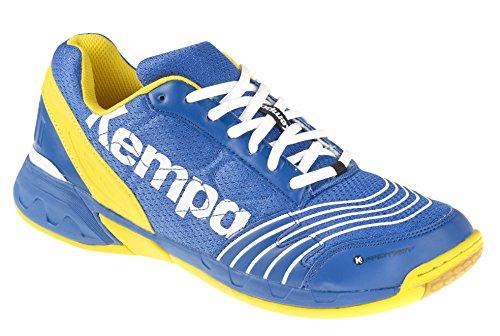Kempa Unisex-Erwachsene Attack Three Handballschuhe, Mehrfarbig (Bleu Roi/Blaz Jaune/Blanc), 41 EU