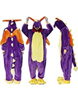 Outdoor Top Polar Fleece Purple Dragon Unisex Onesie Cosplay Costume Hoodies/Pyjamas/Sleep Wear