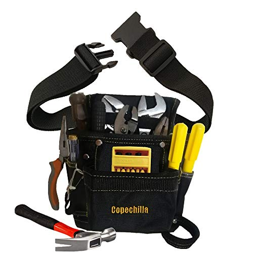 Copechilla bolsa herramientas negro con cinturón ajustada,resistente y profesional,Material lona oxford espesado,para electricistas, técnicos
