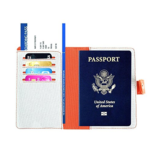 RFID Étui Portefeuille pour Passeport - Couverture de Passeport de Voyage pour les Femmes