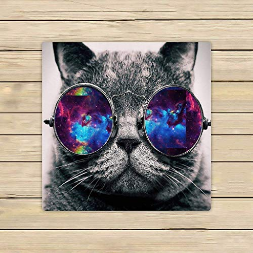 KHETAMNY Cotton Bath Towels,Bathroom Body Shower Towel,Custom Galaxy Hipster Cat Wear Color Sunglasses Beach/Shower Towel Wrap for Home and Travel Use Size 31