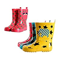 Deylaying Kids Boys Girls Fashion Waterproof Rainboots Rubber Shoes Children Slip-On Rain Boots Water Shoes Winter Boots