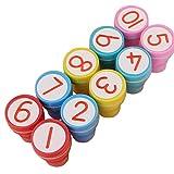 Yiwa scherzt nette Plastikselbstfarben-Stempel-Spielwaren Baby DIY Fertigkeit 10pcs / set 1-10 Zahlen Stempel Set