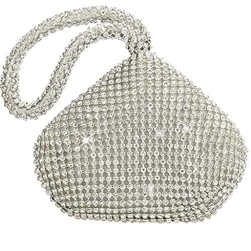 Strass Leopard-druck-handtasche (SoonerQuicker Schultasche Reisetasche Clutch Bags Frauen Explosion Strass Abend Handtasche Handmade Abendtasche Silber One Size)