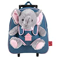 PERLETTI Carry On Backpack Plush Elephant Children 2/5 Years Old - Toddler Boy Girl Handbag with Removable Stuffed Soft Toy and Detachable Wheels - Small Jeans Luggage for Kids - 32x28x11 cm(Elephant)