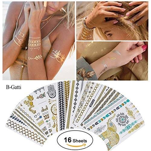 Coole Hippie Outfits - B-Gatti Tätowierung Wasserdicht Metallic Temporäre Tattoo