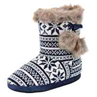 Autumn Faith Ladies Navy Blue Knitted Fairisle Bootie Slippers with Faux Fur Pompoms - UK 5