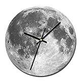 Makefortune Wanduhr 3D leuchtende große Mond fluoreszierende Wanduhr abnehmbare Glow In The Dark Uhren Durchmesser 30 cm